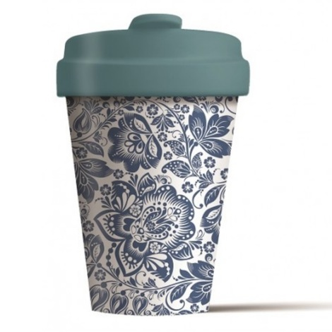 BAMBOO CUP BLUE FLOWERS - (BCP270)